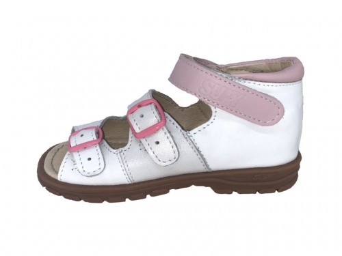 Supykids SOMA supinované detské sandále na suchý zips biele 18-32