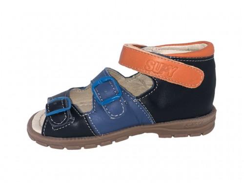 Supykids SOMA chlapčenské supinované detské sandále na suchý zips modré mix 18-32