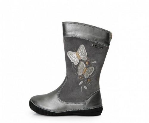 D.D.Step sivo-strieborné dievčenské čižmy s kožušinkou 25-30 so zipsom na boku