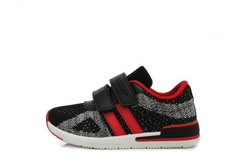 D.D. STEP dětské chlapecké černo-červené plátěné boty se suchým zipem 26-31