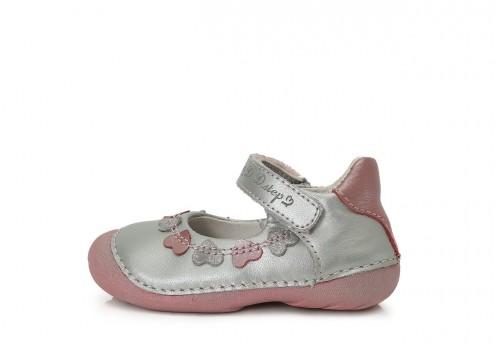 D.D. STEP dětské dívčí stříbrné balerínky 19-24