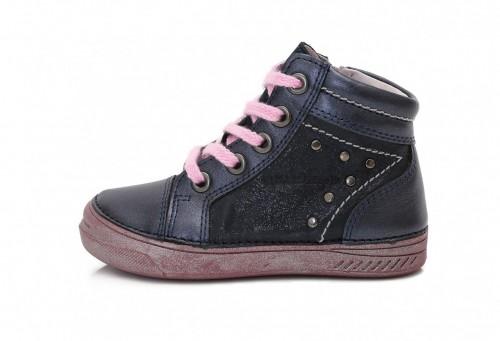 D.D.step modré dievčenské šnurovacie vysoké topánky so zipsom na boku 31-36