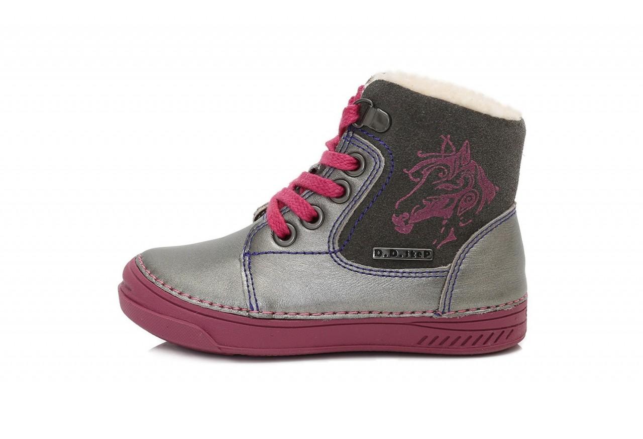 D.D.step dievčenské strieborné vysoké detské topánky s kožušinou šnurovacie so zipsom na boku 25-30