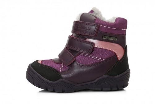 D.D.step fialové dievčenské VODEODOĽNÉ THERMO kožušinové vysoké detské topánky na suchý zips