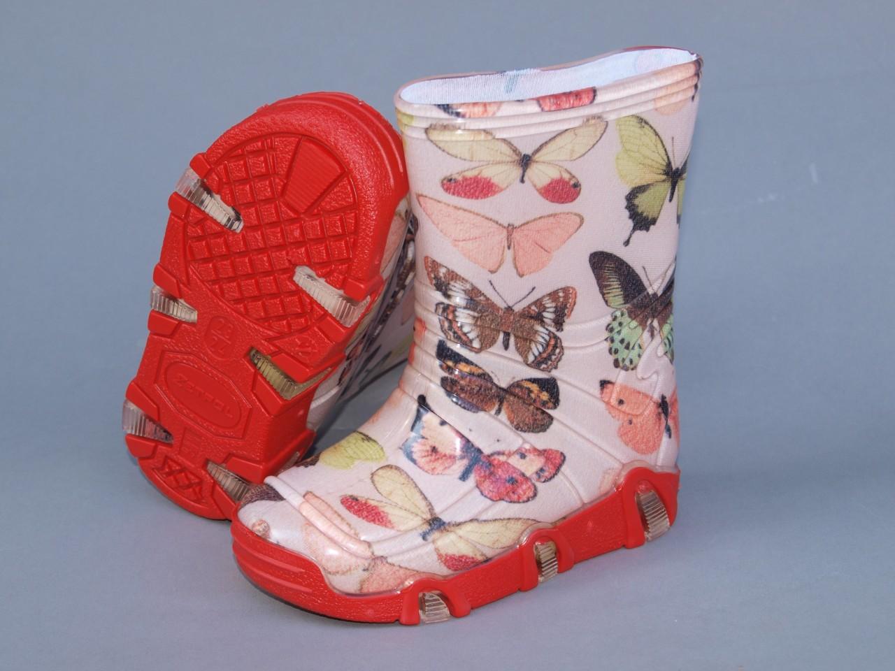 Szuwarek dievčenské gumové čižmy s motýľmi