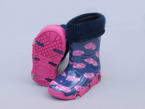 Szuwarek dievčenské gumové čižmy s ružičkami a s vyberatelnou vložkou