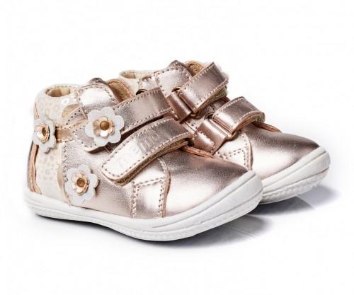 MEMO BELLA zlaté dievčenské supinované topánky na suchý zips 19-21