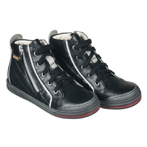 MEMO NEW YORK čierne šnurovacie chlapčenské topánky na zips na boku 26-38