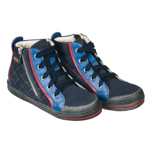MEMO NEW YORK modré šnurovacie chlapčenské topánky na zips na boku 26-38