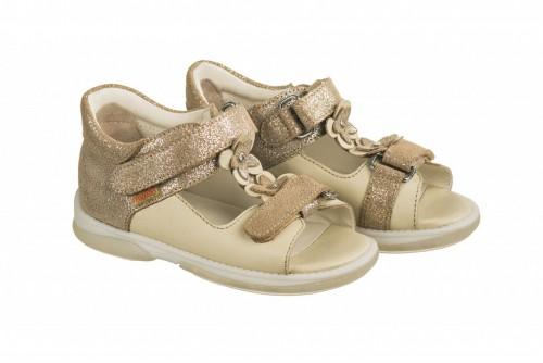MEMO VERONA béžové dívčí supinované dětské sandály 22-31