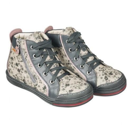 MEMO NEW YORK strieborné kvetinové šnurovacie dievčenské topánky na zips na boku 26-38