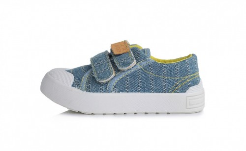 D.D. STEP džínové modré chlapecké plátěné boty na suchý zip 26-31