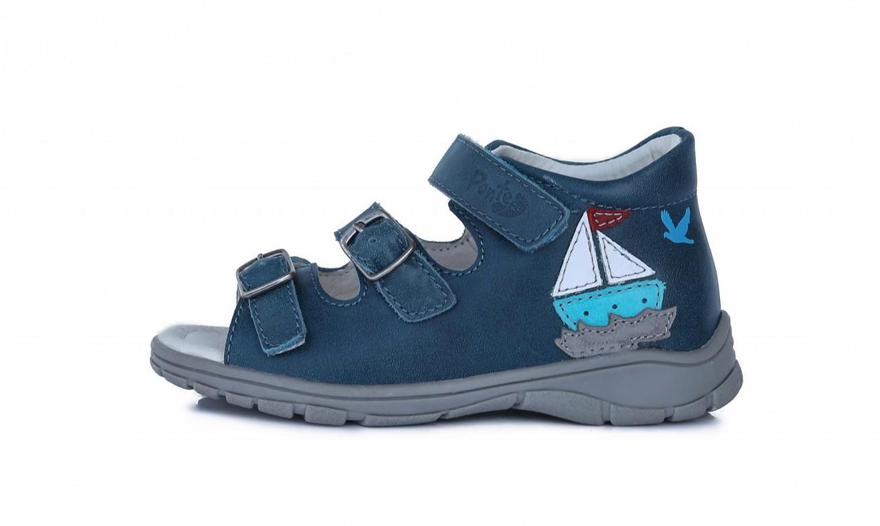 PONTE modré supinované detské chlapčenské sandále so suchým zipsom 22-27
