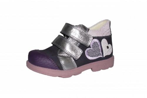 Szamos fialovo-strieborné dievčenské supinované detské topánky na suchý zips 25-30