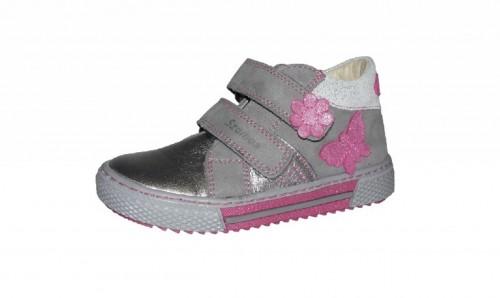 Szamos stříbrné dívčí dětské boty na suchý zip 18-24