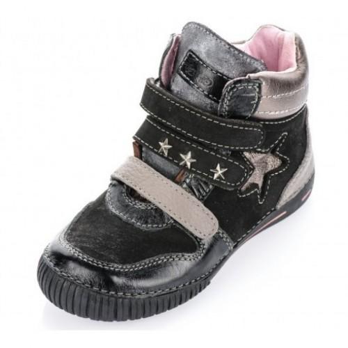 D.D.step čierne dievčenské detské kotníkové topánky na suchý zips 25-30
