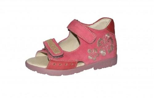 Szamos růžové dívčí supinované dětské sandály na suchý zip 25-30