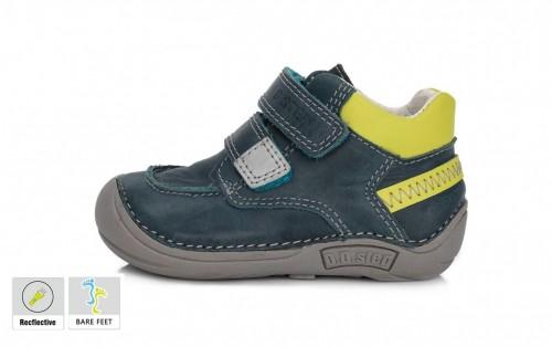 D.D.step modré chlapčenské detské topánky na suchý zips 18-23 s barefoot podrážkou
