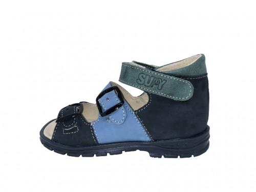 Supykids SOMA detské supinované sandále na suchý zips modro-zelené 18-32