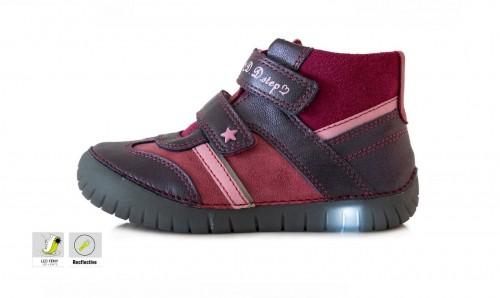 D.D.step bordové dievčenské detské kotníkové topánky na suchý zips 31-36 LED svietiace