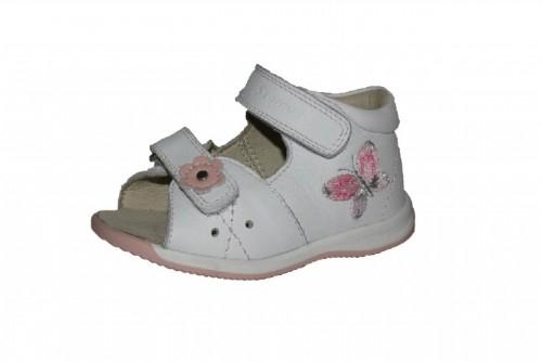 Szamos biele dievčenské dětské sandále na suchý zip 17-24