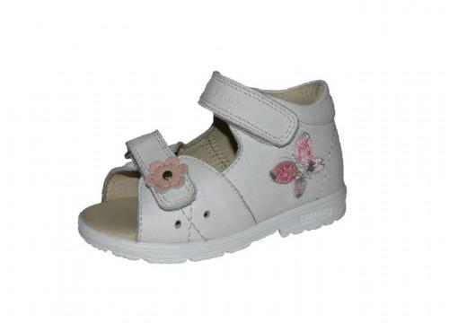 Szamos biele dievčenské supinované dětské sandále na suchý zip 18-24