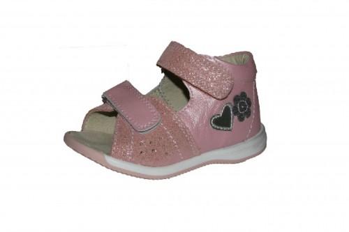 Szamos ružové dievčenské dětské sandále na suchý zip 17-24