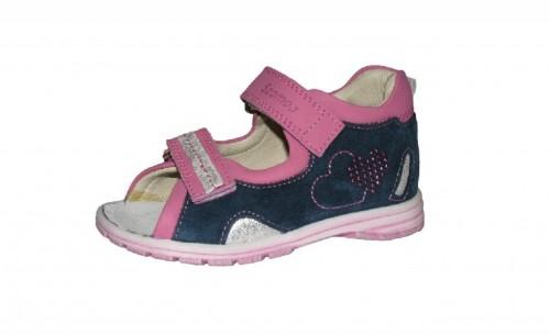 Szamos fialovo-ružové dievčenské dětské sandále na suchý zip 18-24