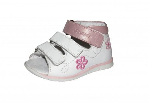 Szamos bielo-ružové dievčenské dětské sandále na suchý zip 18-24