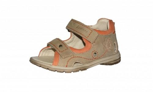 Szamos béžovo-ružové dievčenské supinované dětské sandále na suchý zip 18-24