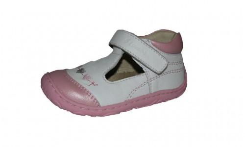 Szamos bielo-ružové dievčenské dětské baleríny na suchý zip 18-24