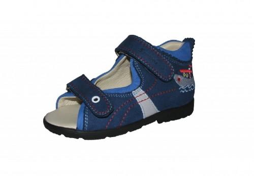 Szamos modré chlapčenské supinované detské sandále na suchý zips 22-30