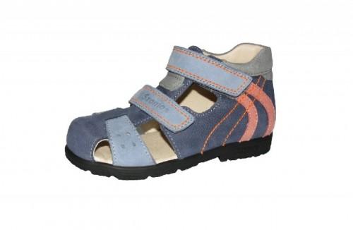 Szamos modro-oranžové chlapčenské supinované detské sandále na suchý zips 22-30