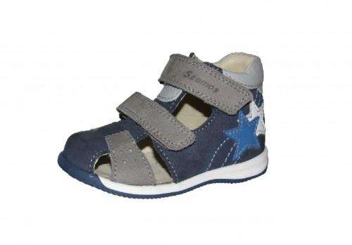 Szamos modro-sivé chlapčenské detské sandále na suchý zips 25-32