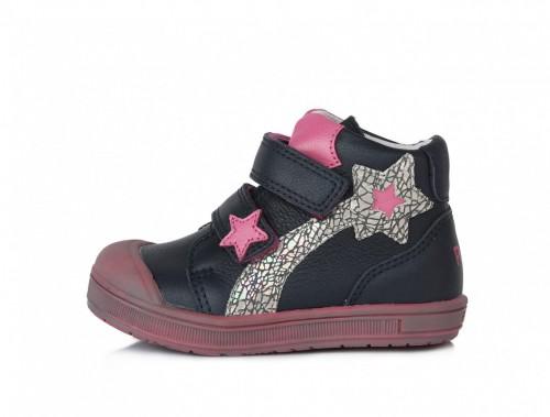PONTE detské ružovo-modré supinované dievčenské kotníkové topánky na suchý zips 22-27