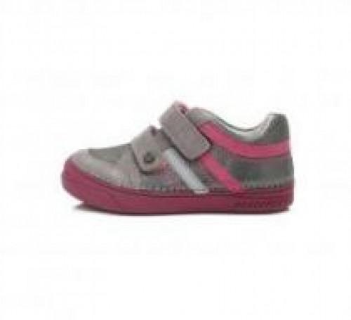 D.D.step ružovo-strieborné dievčenské detské topánky na suchý zips 25-30