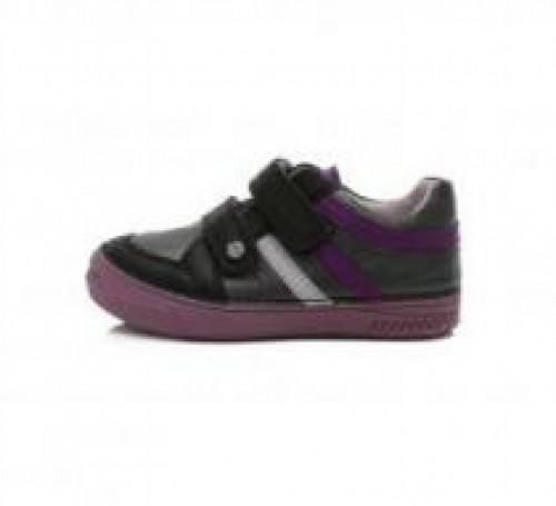 D.D.step čierno-strieborné dievčenské detské topánky na suchý zips 31-36