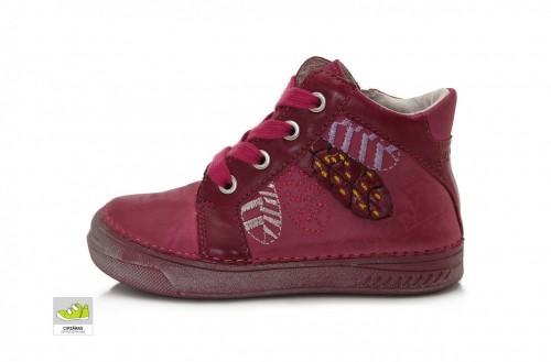 D.D.step ružové dievčenské šnurovacie vysoké topánky so zipsom na boku 25-30