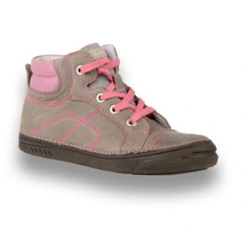 D.D.step sivoružové dievčenské šnurovacie vysoké topánky so zipsom na boku 31-36