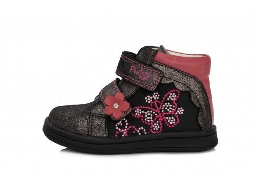 PONTE fekete rózsaszín lány supinált magasszárú tépőzáras gyerekcipő 22-27