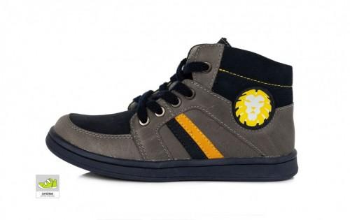 PONTE chlapecké šedo-černé supinované vysoké dětské boty šněrovací se zipem na boku 28-33