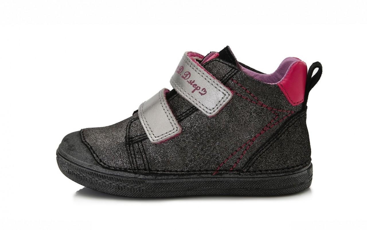D.D.step strieborno-čierne dievčenské kotníkové detské topánky na suchý zips 25-30