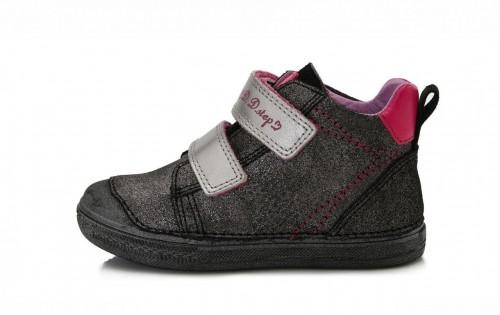 D.D.step stříbrno-černé dívčí kotníkové dětské boty na suchý zip 25-30