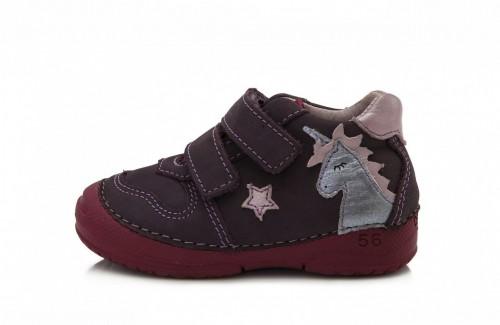 D.D.step fialové dievčenské detské topánky na suchý zips 19-24