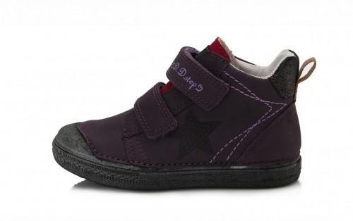 D.D.step fialové dievčenské kotníkové detské topánky na suchý zips 25-30