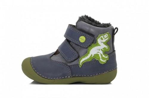 D.D.step modro-zelené chlapecké kožešinové vysoké dětské boty na suchý zip 19-24 s dino motivem
