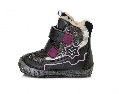 D.D.step strieborno-čierne dievčenské kožušinové vysoké detské topánky na suchý zips 19-24