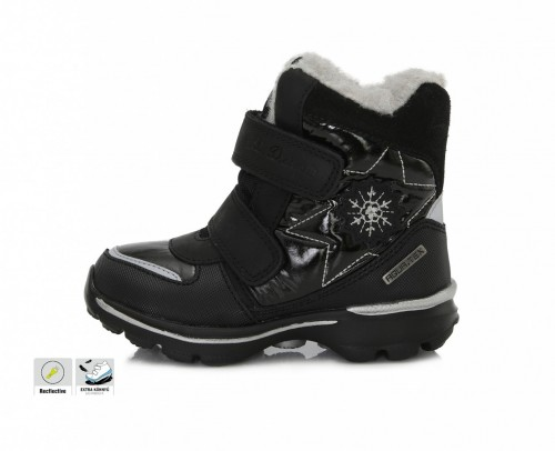 D.D.step čierne dievčenské VODEODOĽNÉ THERMO kožušinové vysoké detské topánky na suchý zips