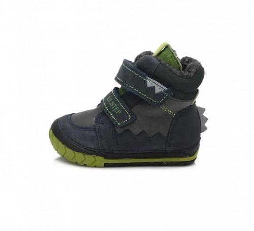 D.D.step tmavomodré chlapecké dětské kotníkové boty na suchý zip 19-24 s kožešinkou