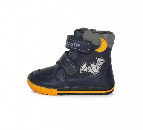 D.D.step tmavomodré chlapčenské detské kotníkové topánky na suchý zips 19-24 s kožušinkou